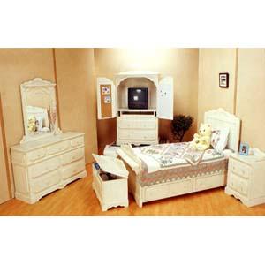 5-Piece Antique White Finish Bedroom Set 599_ (CO)