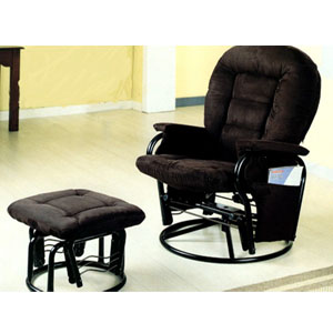 Black Velvet Swivel Glider Recliner With Ottoman 7119 (CO)