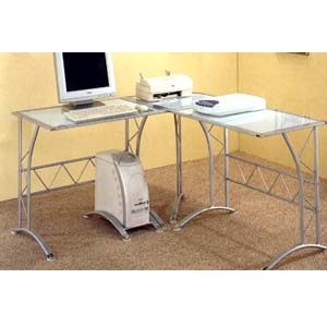 Contemporary L Shaped Workstation Desk In Silver 7177(CO)