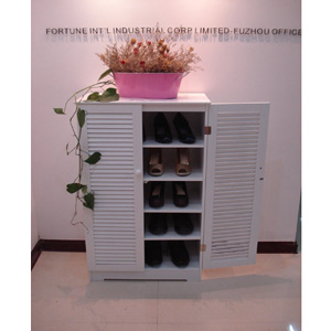 Wooden Shoe Cabinet with Louvered Doors HC-005(AZFS)