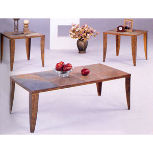 3-Pc Slate Top Design Coffee & End Table Set 7209 (CO)