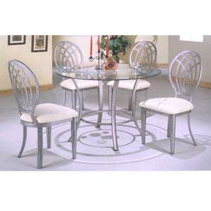 5 Pc Antique Silver Gray Dining Set 7431/7432/CB42RD (CO)