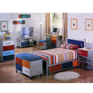 Bedroom Set With Multicolor Metal Square Tubing 759_(CO)