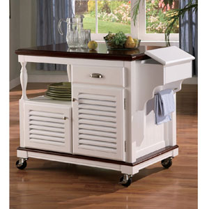Solid Wood Kitchen Cart in White 910013(CO)