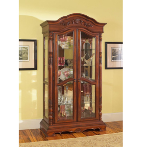 Solid Birch Wood Curio Cabinet In Rich Cherry 950102 Co