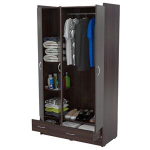 Closets wardrobe multi storage espresso wenge armoire am for Armoire penderie wenge