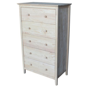 Solid Wood Shaker Style 5 Drawer Chest (WFFS)