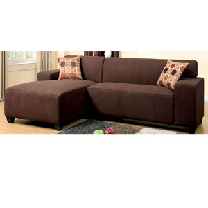 Chocolate Sectional with 2 Pillows CM6825(IEM)