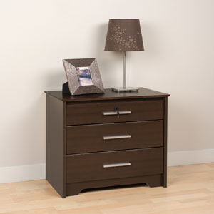 night stands 3 drawer tall and wide nightstand with lock 2427 ppfs. Black Bedroom Furniture Sets. Home Design Ideas