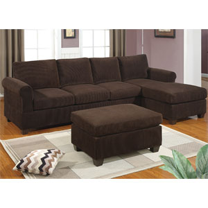 2-Pc Corduroy Sectional Sofa - Chocolate F7131(PX)