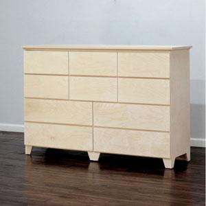 Solid Wood Flat Shaker 10 Drawer Dresser (WFFS)