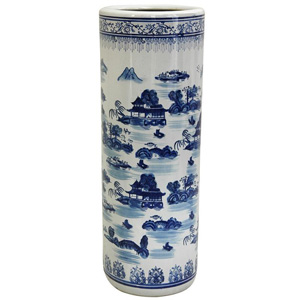 Porcelain 24-inch Blue and White Umbrella Stand 13443694(OFS