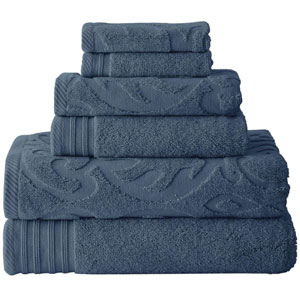 Pacific Coast Jacquard Medallion & Solid 6PC Towel Set (AZFS