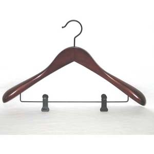 Taurus Suit Hanger with Clips, Mahogany Finish TRD8838 (PM)