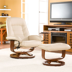 Taupe Bonded Leather Recliner And Ottoman UP1332RC (SEIFS)