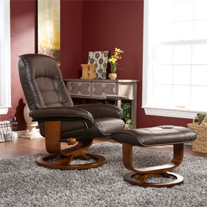 Cafe Brown Bonded Leather Recliner and Ottoman UP1373RC (SEI
