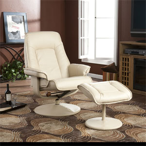 Taupe Bonded Leather Recliner and Ottoman UP3732RC (SEIFS)