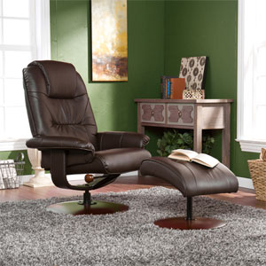 Brown Bonded Leather Recliner and Ottoman UP4973RC (SEIFS)