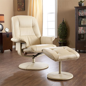 Recliner Chairs And Ottomans Taupe Faux Leather Recliner