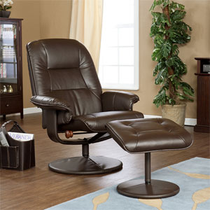 Cafe Brown Faux Leather Recliner and Ottoman UP8973RC (SEIFS