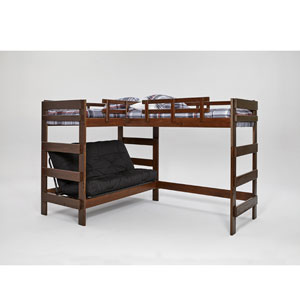 Solid Wood L-Shaped Futon Loft Bed Dark Wood (WC)