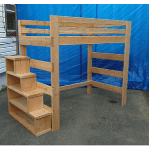 Heavy Duty Solid Wood Loft Bed 1000 Lbs Wt. Cap.With Stairs