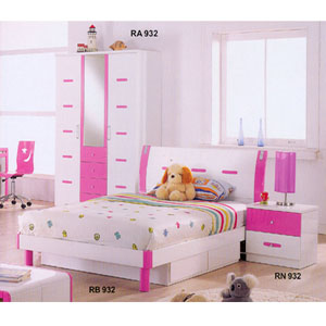 Attrayant Youth Bedroom Set In Pink And White R932_ (DS)