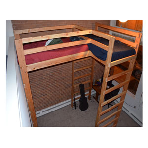 Any Size L Shaped Loft Bed Solid Wood 1000 Lbs.Wt Capacity