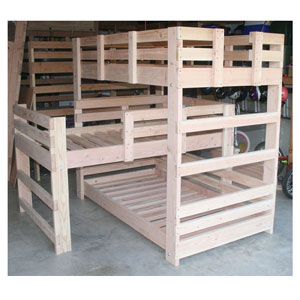 Solid Wood Custom Made Triple L Shape Bunk Bed (USM)